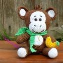 """Horgolt Majmóca """" Frenky"""", Baba-mama-gyerek, Játék, Plüssállat, rongyjáték, Játékfigura, Frenky, egy nagyon kedves majmóca. A kis banánja nélkül nem szeret menni sehová..:)  100% pamut fona..., Meska"""