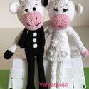 Esküvői ajándék Horgolt Amigurumi Gina és Fred az Ifjú Pár