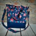 Romantikus női táska ,vagy pelenkázótáska, Táska, Válltáska, oldaltáska,  Textilbőr és erős vászon válltáska.4 zsebe van belül, kívűl 2 A táska  mérete: 33cm maga..., Meska