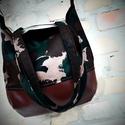 EXTRA vagány csajos terep táska, Táska, Válltáska, oldaltáska,  Textilbőr és erős vászon válltáska.2 nagy zsebe van belül. A táska  mérete: 35cm magas, 35..., Meska