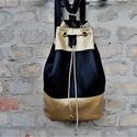 FEKETE ARANY HÁTIZSÁK  táska  bucket bag , Táska, Válltáska, oldaltáska, Hátizsák, Varrás, Hímzés, Dögös  arany fekete színű műbőr  hátizsák,ami praktikus, mivel hordható válltáskaként és átvetve is..., Meska