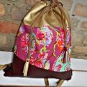 Rose gold konyak színű lillaráni hátizsák gymbag , Táska, Hátizsák, Ennek a hátizsáknak a Lillaráni nevet adtam, ami a vidámságára utal. Ez a név a játékok kir..., Meska