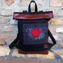 Hímzett fekete hátizsák műbőrrel, Táska, Hátizsák, Ez a hátizsák a szabadságom idején is megvásárolható, mivel készleten van, Kérlek írj üzenetet, ha s..., Meska