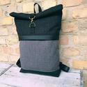 Roll top Fekete szürke  hátizsák, Erős minőségi anyagokból készült roll up há...
