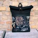 Roll top hátizsák virág mintás fekete , Táskáinkhoz mindig  minőségi és erős anyagok...