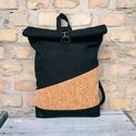 Minimalis parafa fekete roll up hátizsák, Táskáinkhoz mindig  minőségi és erős anyagok...