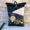 Roll top levél  mintás hátizsák, Táska & Tok, Hátizsák, Roll top hátizsák, Varrás, Erős bútorvászonból és műbőrből(fekete) készült roll up hátizsák.!A táskák kiváló minőségű anyagokb..., Meska