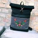 Matyó mintás fekete szürke roll up hátizsák, Gépi hímzéssel készült roll up hátizsák.  T...