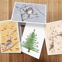 üdvözlő lap - szett, Egyéb, Karácsony, Festészet, 4 féle üdvözlőlap. Téli témájú (nem csak karácsonyi) madaras üdvözlőlapok. Csonttollú, fenyőrigó, z..., Meska