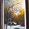 Téli kép Zsilip Tanodai tanulmány, Képzőművészet, Otthon, lakberendezés, Festmény, Akril, Festészet, Lekezelt farost lemezre készült. Akryllal és lakkal az állagmegőrzés miatt. Mérete kerettel együtt ..., Meska
