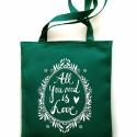 LOVE  táska - sötét türkiz, Erős vászontáska szitanyomott grafikával. Bél...