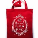 LOVE  táska - piros, Erős vászontáska szitanyomott grafikával. Bél...
