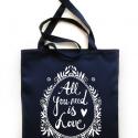 LOVE  táska - sötétkék, Erős vászontáska szitanyomott grafikával. Bél...