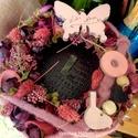 Tavaszi-nyári kopogtató, Dekoráció, Virágkötés, Mályva,rózsaszín,lepkés,madaras kopogtató 20 cm, Meska