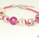 Katica és madárka Pandora stílusú karkötő / Ladybird and birdy Pandora style bracelet, Ékszer, óra, Karkötő, Fonott rózsaszín műbőr alapra fűztem fehér-rózsaszín-lila színvilágú charmokat: katica, m..., Meska