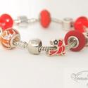 """Itt a piros karkötő / This is the Red! bracelet, Ékszer, Karkötő,   A közelgő Valentin napra készült ez a cseresznye piros """"fánkokból"""" és kiegészítőkből álló ékszer. ..., Meska"""