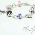 Lila álom Pandora karkötő / Purple dream Pandora bracelet, Ékszer, óra, Karkötő, Rák (jún. 21 - júl. 22)  A Rák nők jellemzően család centrikusak, szeretnek gondoskodni, óvn..., Meska