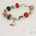 Ördögi elegancia Pandora stílusú karkötő / Diabolic-style Pandora bracelet, Ékszer, óra, Karkötő,  Szeretem a fekete és vörös összeállítást, mert egyszerre sugároz eleganciát és szenvedélyt.   A kar..., Meska