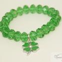 Zöld szerencse karkötő / Green Fortune bracelet, Ékszer, Karkötő,  Csiszolt nagy (12 x 8 mm) üveg gyöngyökből (nem ásványok!) készítettem ezt a csillogó, szerencsét h..., Meska