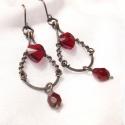 Swarovski fülbevaló piros szív kristály menyecske réz ékszer, A romantikus és nagyon elegáns fülbevalót az a...