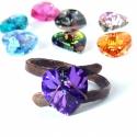 Rusztikus szív gyűrű, romantikus Swarovski kristály ékszer, A rusztikusra kalapált vörösréz gyűrű alapra...