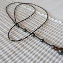 Nagy hematit golyó végződésű nyaklánc / 1A-004, Ékszer, óra, Esküvő, Ruha, divat, cipő, Nyaklánc, Ékszerkészítés, Gyöngyfűzés, Ennek a finom fűzött nyakláncnak a zárt, körkörös része apró, négyzetes formájú arany gyöngyökből, ..., Meska