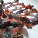 Toszkán tájak 1. Egyedi stóla / 9I - 134, Esküvő, Ruha, divat, cipő, Kendő, sál, sapka, kesztyű, Sál, Virágkötés, Mindenmás, Könnyű, áttört kockás stóla, puha őszi színekkel  Különleges egyedi textil. Speciális technikáva..., Meska