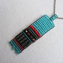 KIÁRUSÍTÁS! Mexikó- nyaklánc, Ékszer, óra, Nyaklánc,   6,2x1,6cm-es medál, elyet a gyöngyök mellett fém rudacskákkal díszítettem. Antikolt sárgaréz láncr..., Meska