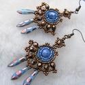 Variációk aranyra és rézre (kék)- fülbevaló, Ékszer, óra, Fülbevaló, A vörösréz és az arany, ha találkoznak... elegancia, némi piszkos kék, egy kis bohókás pötty. 5cm ho..., Meska