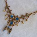 Viharvert romantika- nyaklánc, Ékszer, Nyaklánc, Antik hatású aranyak és visszafogott csillanású türkizkék nyaklánc, vagy nyakék attól függően, hogy ..., Meska