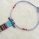 Etnográf- nyaklánc türkizben és pirosban, Ékszer, Nyaklánc, Stílusában meghatározhatatlan, színeiben vibráló, mégis harmóniára törekvő. Nyitott,  egyszerre mode..., Meska
