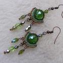 Apró levelecske- füli, Ékszer, Nyaklánc,  Klasszikus forma a zöld árnyalataiban egy kis bronzzal fűszerezve. Mérete visszafogottabb, ezt elle..., Meska