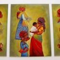 Afrikai nők c. 3 részes üvegfestmény, Dekoráció, Otthon, lakberendezés, Kép, Falikép, 3 részes üvegfestmény: 1 db 30x40 cm-es 2 db 15x40 cm-es Zöld fa keretbe raktam őket (keret né..., Meska