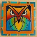 Festett baglyos falióra (üvegfestmény), Dekoráció, Otthon, lakberendezés, Kép, Falióra, 18x18 cm-es festett falióra óraszerkezettel., Meska