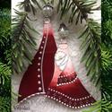 """Üveg """"Jászol"""" karácsonyfadísz, ajándékkísérő, ablakdísz, Dekoráció, Karácsonyi, adventi apróságok, Ünnepi dekoráció, Karácsonyfadísz, József, Mária, kis Jézus Ezt a 10 cm-es üveg díszt gyöngyből és ékszeralkatrészekből készítettem. Sa..., Meska"""