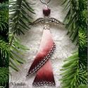 Üveg angyal karácsonyfadísz, ajándékkísérő, ablakdísz, Dekoráció, Karácsonyi, adventi apróságok, Ünnepi dekoráció, Karácsonyfadísz, Ezt a 10 cm-es üveg angyalt üvegből, gyöngyből és ékszeralkatrészekből készítettem, ruháját üvegfest..., Meska