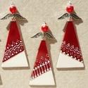 3 db angyalka karácsonyfadísz, ajándékkísérő, ablakdísz, Dekoráció, Karácsonyi, adventi apróságok, Ünnepi dekoráció, Karácsonyfadísz, Ezeket a szép, csillogó angyalkákat gyöngyből és ékszeralkatrészekből készítettem. Szoknyájuk üveg, ..., Meska