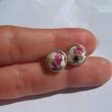 virágos füli, Ékszer, Fülbevaló, 8mm-es virágos porcelángyöngyből készült bedugós füli, Meska
