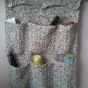 Horgolt zsebes tároló, Otthon, lakberendezés, Tárolóeszköz, Kétszínű (fehér és sötétbarna) akril fonalból horgoltam ezt a zsebes tárolót. 45 cm széle..., Meska