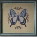 Pillangó keresztszemes kép, Otthon, lakberendezés, Falikép, Keresztszemes hímzéssel készítettem ezt a képet, majd kereteztettem, üvegeztettem. Mérete: kb..., Meska
