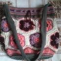 """""""Virág"""" horgolt válltáska, Táska, Válltáska, oldaltáska, Horgolás, Pamut és akril fonalból horgoltam ezt a vidám táskát. Alapja 20 cm-es kör, magassága kb. 27 cm. Bel..., Meska"""