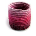 Rózsaszín tároló, tartó, doboz, Otthon, lakberendezés, Tárolóeszköz, Élénk rózsaszín fonalakból készült, egyedi technikával készített, színátmenetes /ombre/ ..., Meska