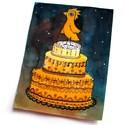 Szülinap - kép, Otthon, lakberendezés, Falikép, Tollrajzzal és festéssel készült kép madárról, aki egy szülinapi tortán ácsorog. Mérete: 22x17cm Csa..., Meska
