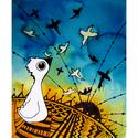 Madarak az égen - kép, Otthon, lakberendezés, Falikép, Festéssel és tollrajzzal készült kép repkedő madarakról. 20x24cm  Csak személyes átvételnél tudom ke..., Meska