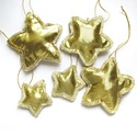 Arany csillagok karácsonyra, Dekoráció, Karácsonyi, adventi apróságok, Ünnepi dekoráció, Karácsonyfadísz, Arany textilből varrt csillagok karácsonyfadísznek. /5db/ 100% handmade, Meska