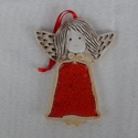 Kerámia angyalka, Dekoráció, Karácsonyi, adventi apróságok, Karácsonyi dekoráció, 10 cm magas kerámia angyalka. Felakasztható, de a szalag levehető, a luk nem látható., Meska