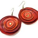 narancs piros poppy fülbevaló, narancs és piros  bőrből készítettem ezt a po...