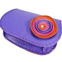Poppys íves bőrpénztárca, Táska, Pénztárca, tok, tárca,  Vidám, gyönyörű színekből készült íves nőies pénztárca. Lila, narancs és pink játéka. Nagyon finom,..., Meska