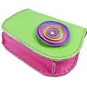 Poppys íves bőrpénztárca, Táska, Pénztárca, tok, tárca, Vidám, gyönyörű színekből készült íves nőies pénztárca. Zöld, lila, és pink játéka. Nagyon finom, pu..., Meska