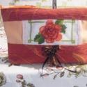 Hímzett rózsás neszeszer, Táska, Pénztárca, tok, tárca, Neszesszer, Hímzés, Varrás, Apróságok diszkrét elrejtésére kitűnően alkalmas ez a hímzett narancsos - vöröses színösszeállításb..., Meska